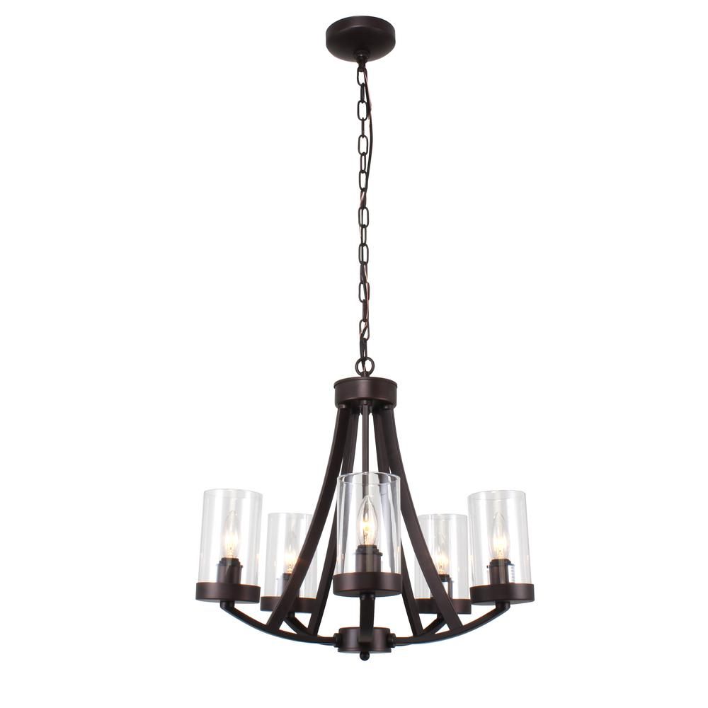 "FLORENCE Farmhouse 5 Light Rubbed Bronze Chandelier 20.5"" Wide. Picture 3"