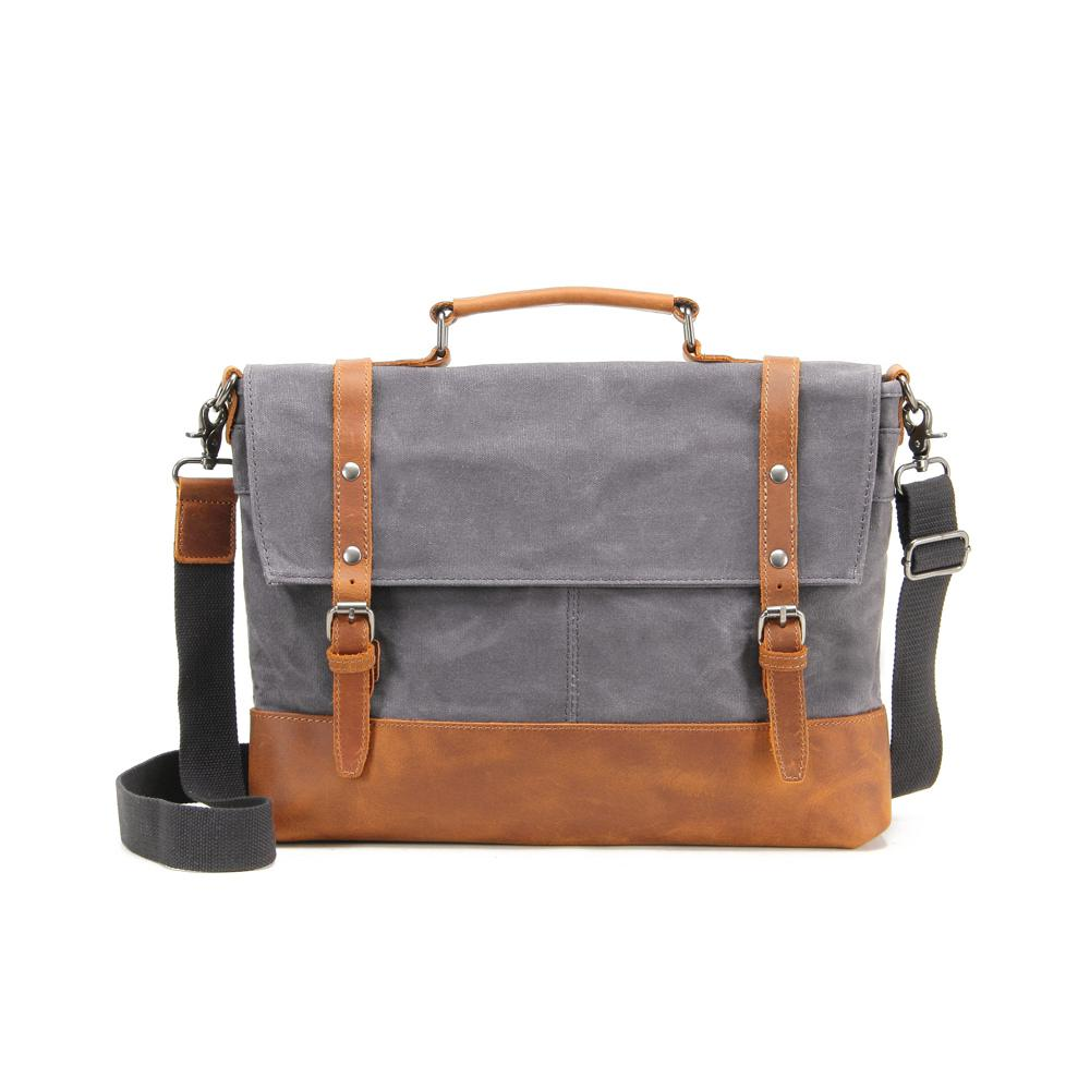 Grey, Waxed Canvas Genuine Leather Messenger Bag. Picture 1