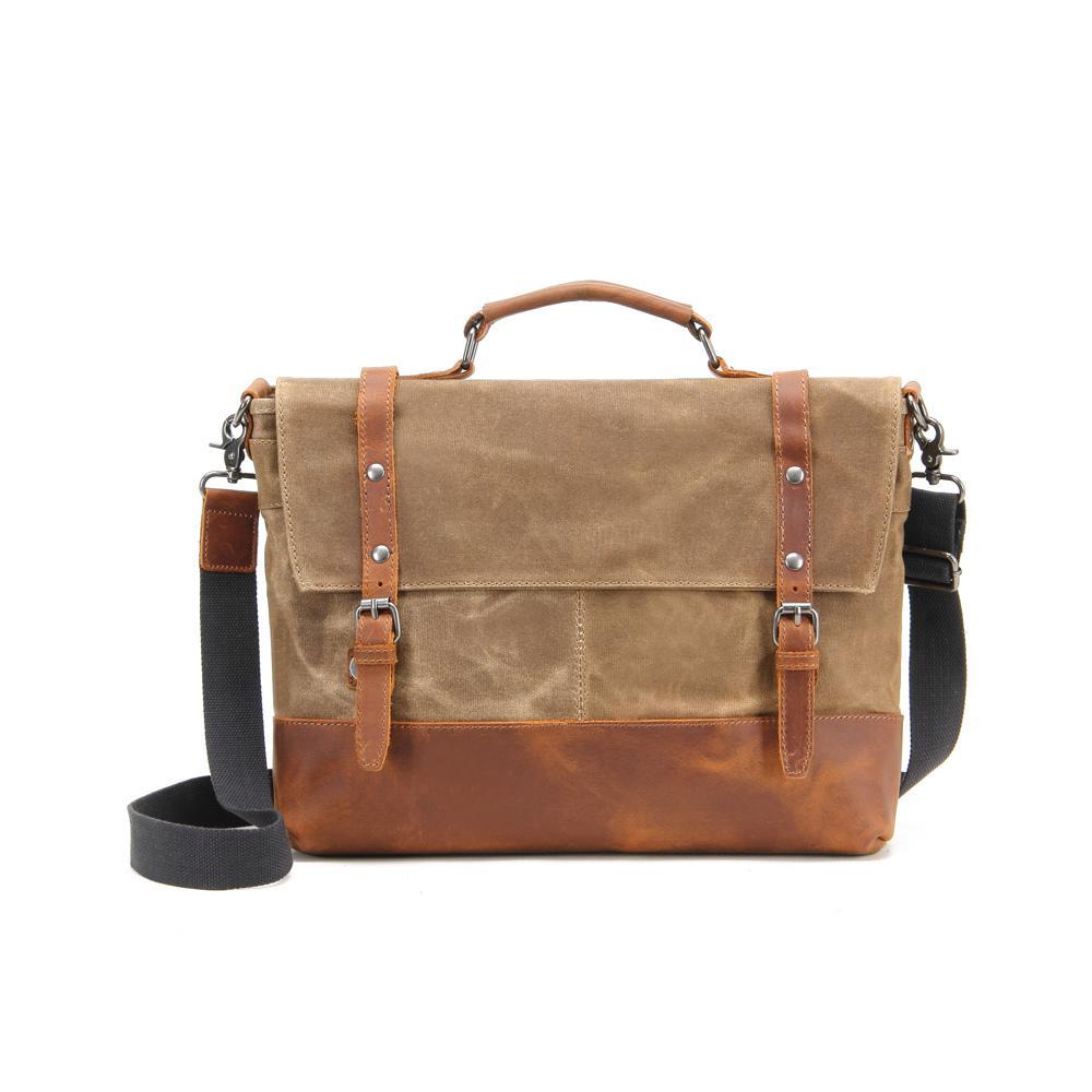 Khaki, Waxed Canvas Genuine Leather Messenger Bag