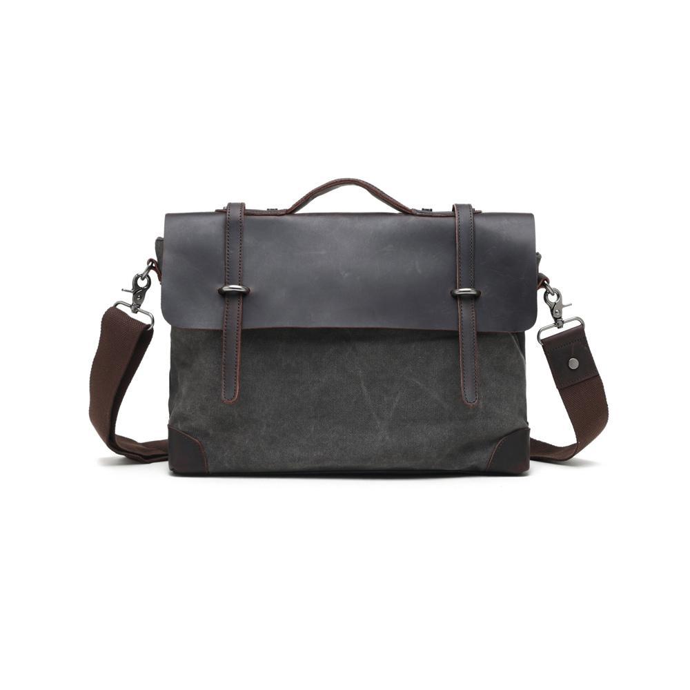 Grey, Washed Canvas Genuine Leather Messenger Bag