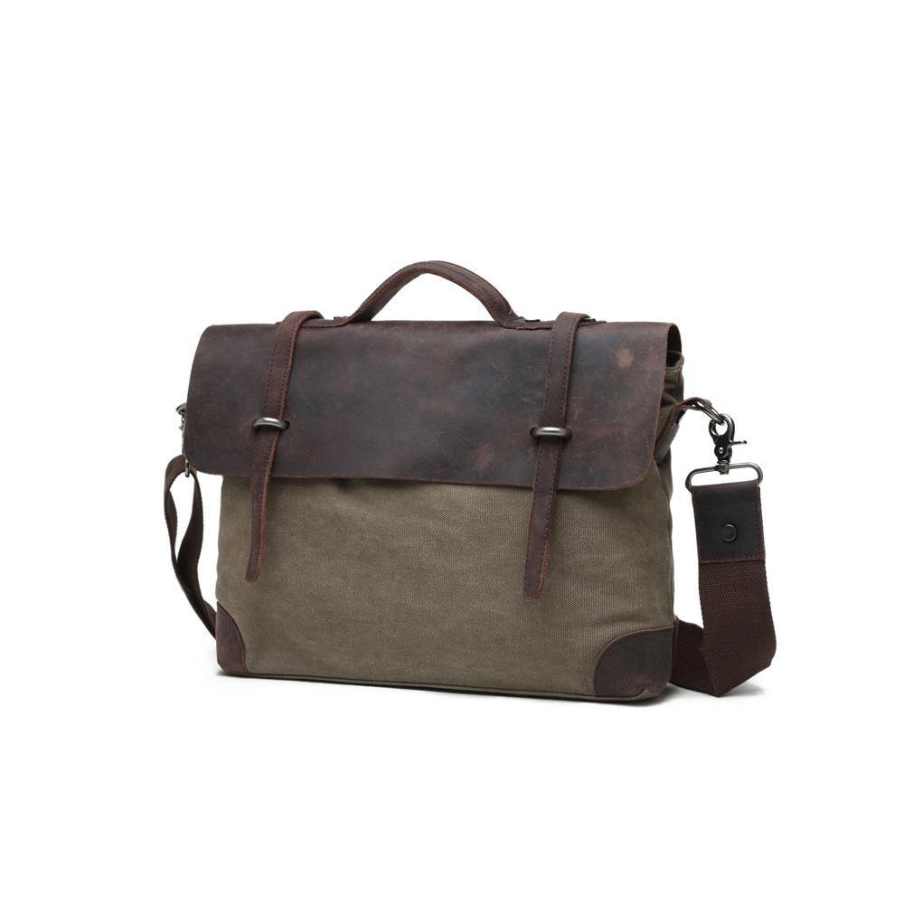 Olive, Washed Canvas Genuine Leather Messenger Bag