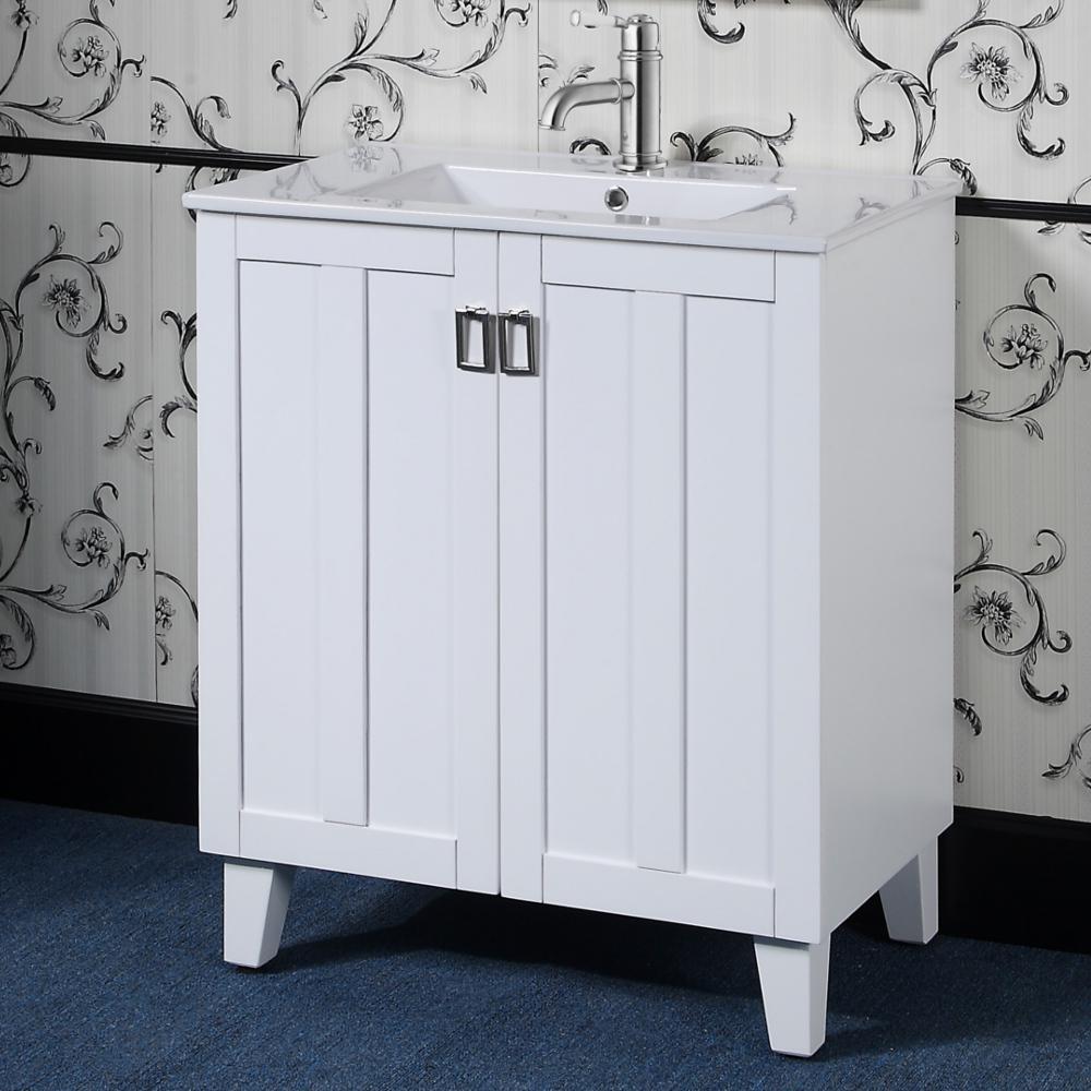 "30"" Single Sink Bathroom Vanity With Ceramic Top In White ..."