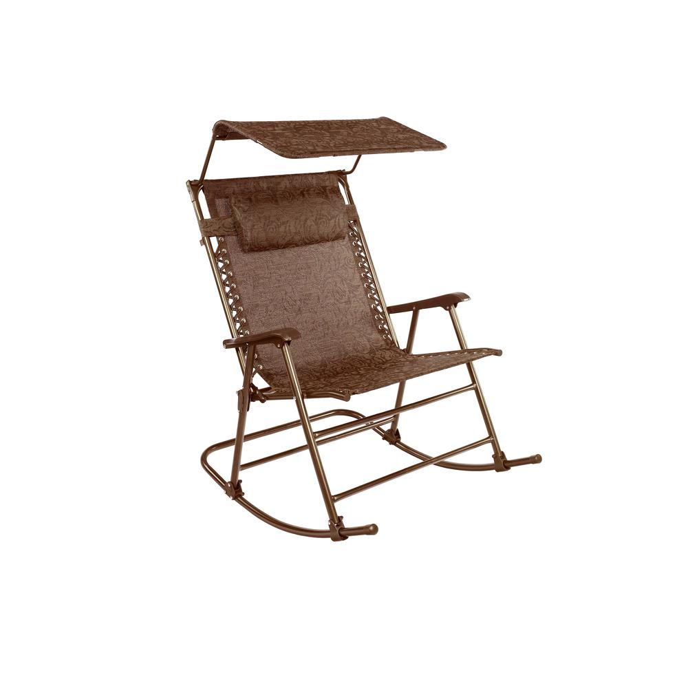 Deluxe Rocking Chair With Canopy 40 55x27 Inch Brown Jacquard