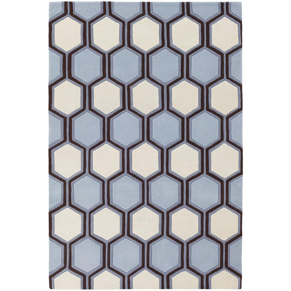 Hand Tufted Designer Rug 7 9x10 6 Blue Brown White