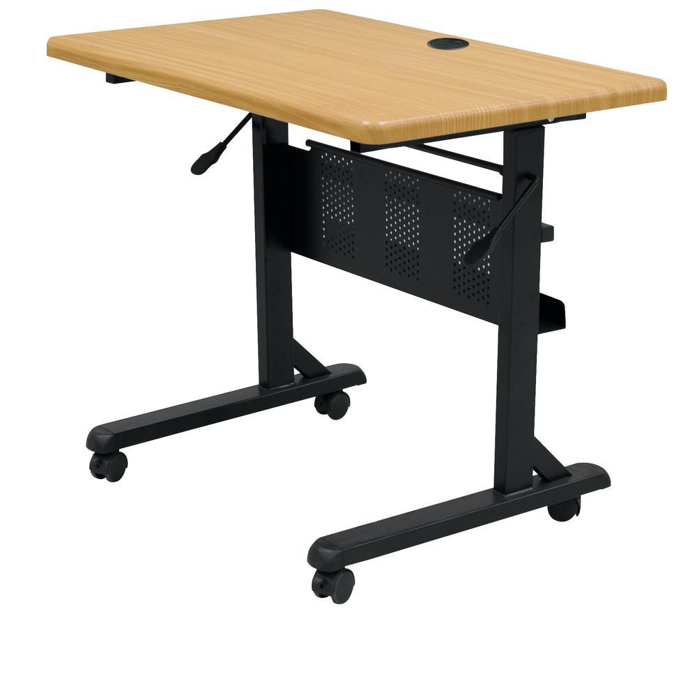 Flipper Training Table, Rectangular, 36w x 24d x 29-1/2h, Teak/Black. Picture 1