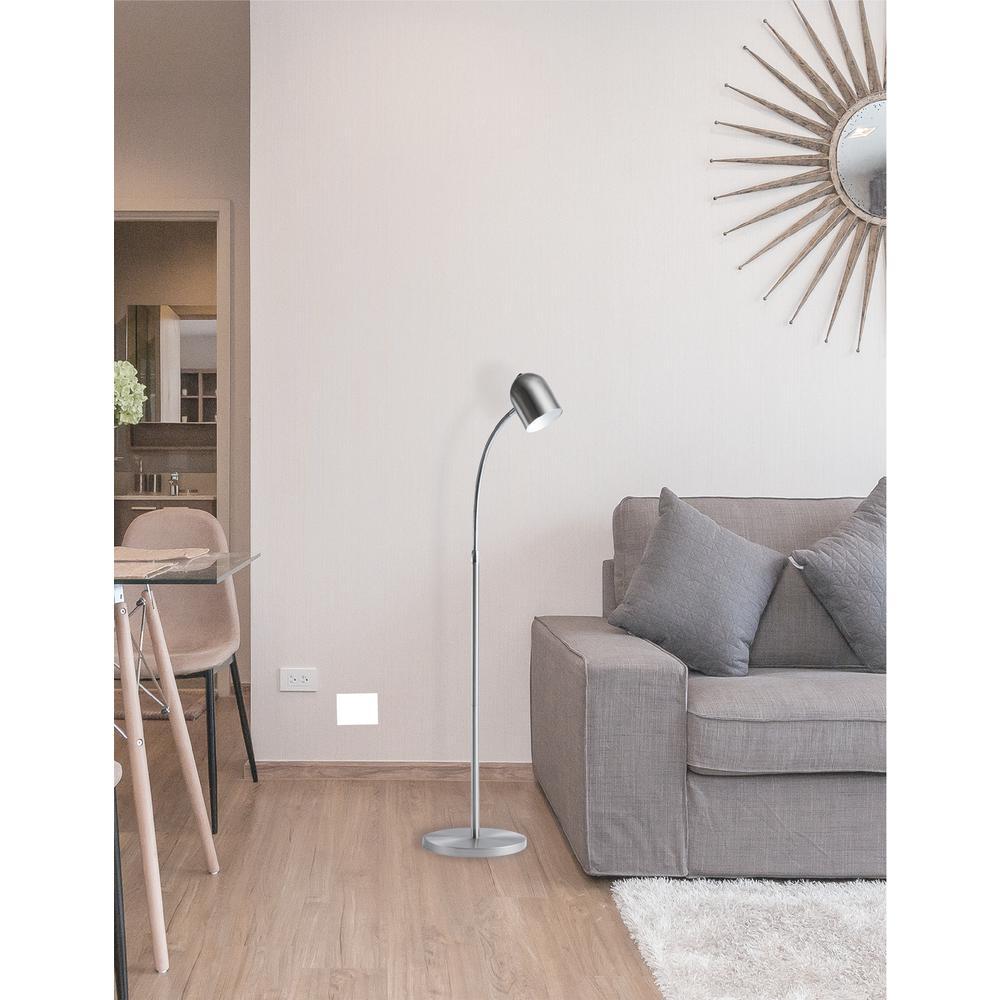 5W Floor Lamp, Satin Chrome Finish. Picture 1