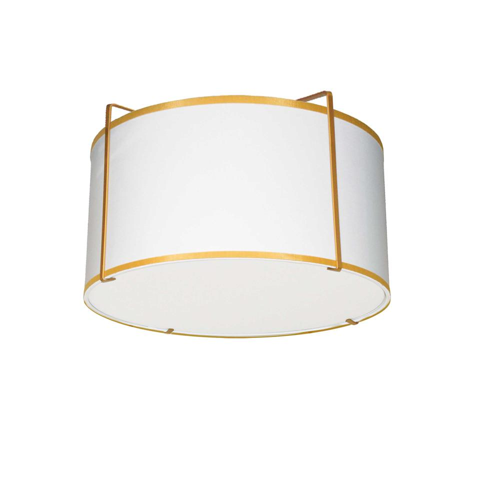 2LT Drum Flush Mount Gold/Wht Shade w/ 790Diff. Picture 1