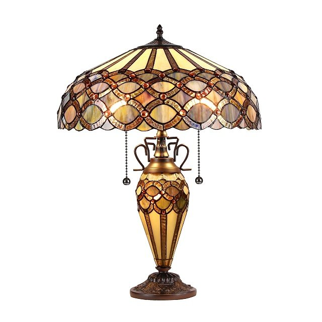 "PRISMA Tiffany-style 2 Light Table Lamp 16"" Shade. Picture 2"