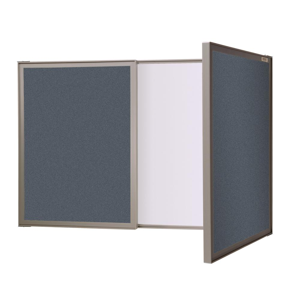 Ghent VisuALL PC Whiteboard Cabinet with Fabric Bulletin Board Exterior Doors, Blue. Picture 1