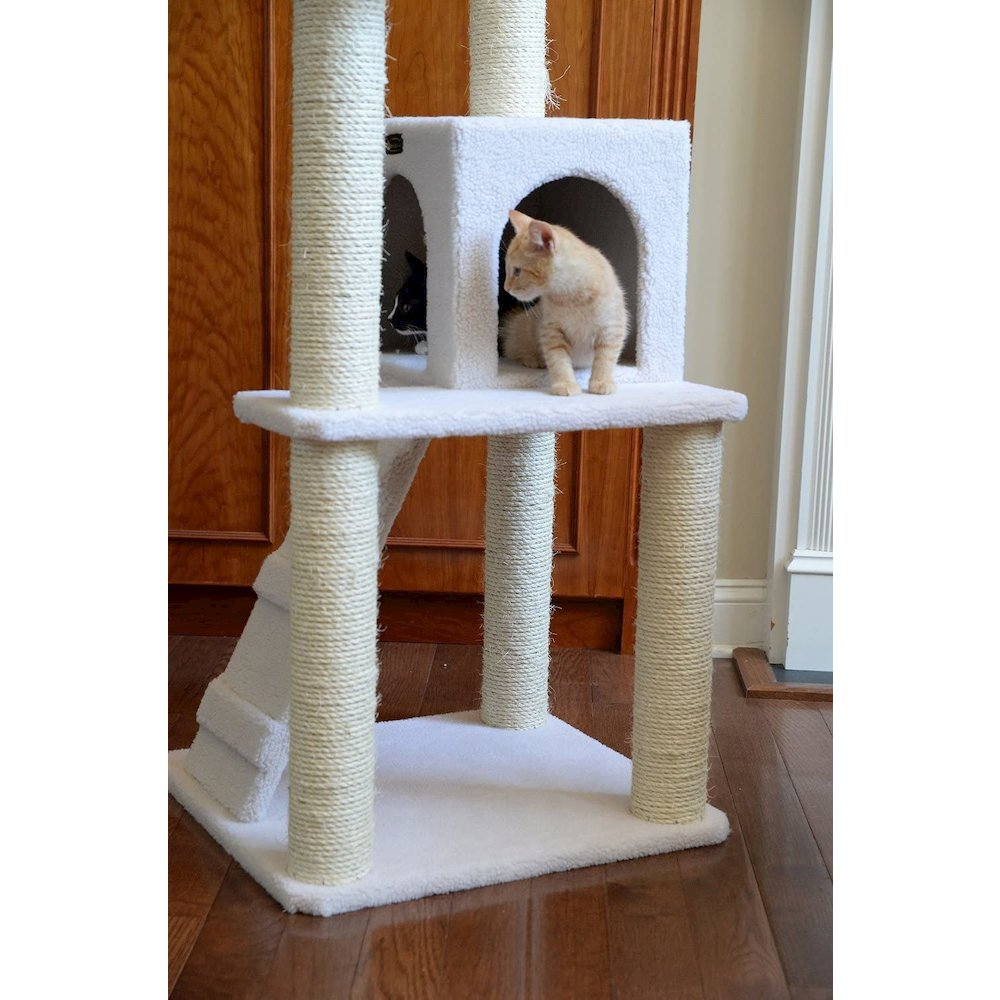 Armarkat Model B5301 53-Inch Classic Cat Tree in Ivory with Ramp, Perch, Condo, Jackson Galaxy Approved. Picture 6