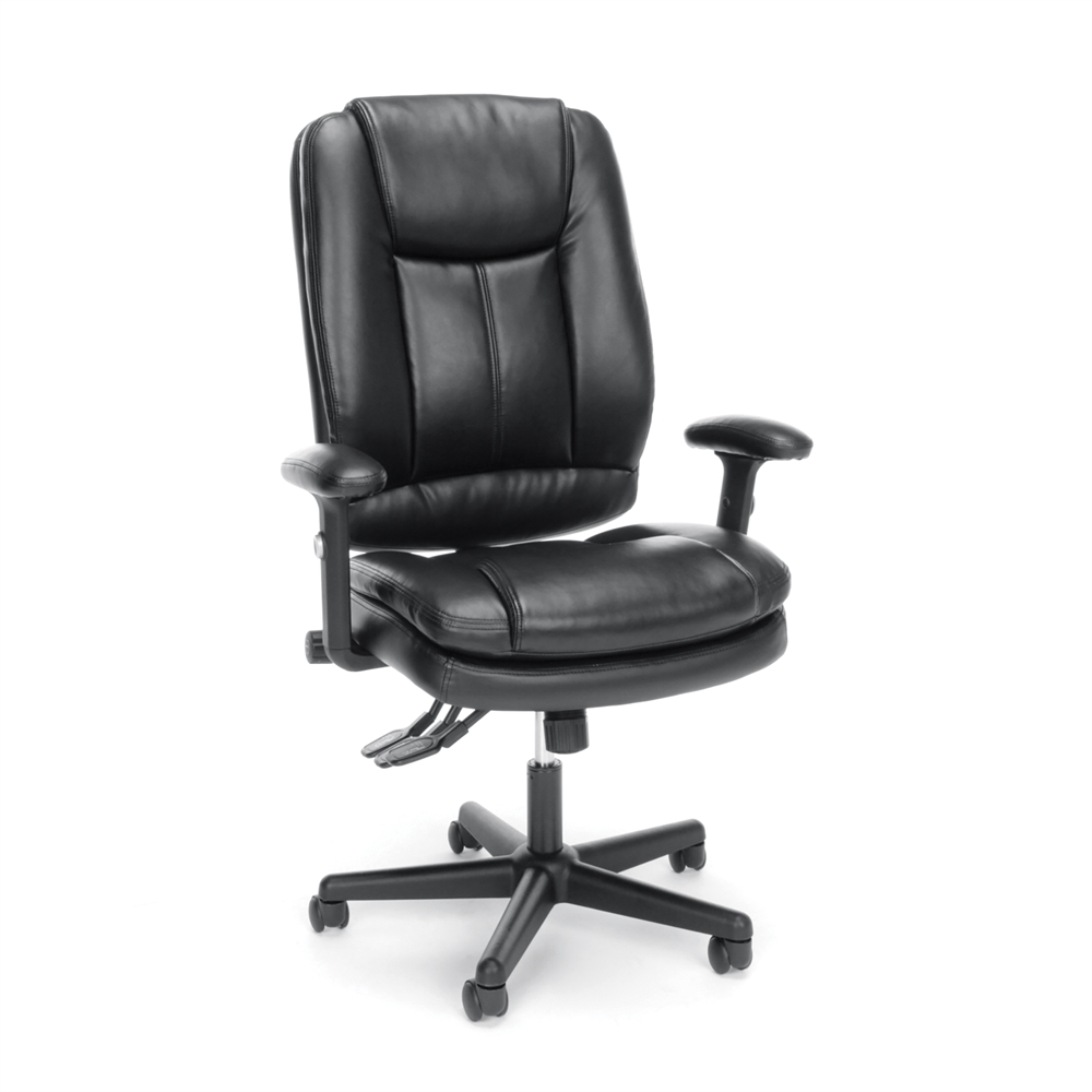 3 paddle ergonomic high back leather office chair with lumbar support. Black Bedroom Furniture Sets. Home Design Ideas