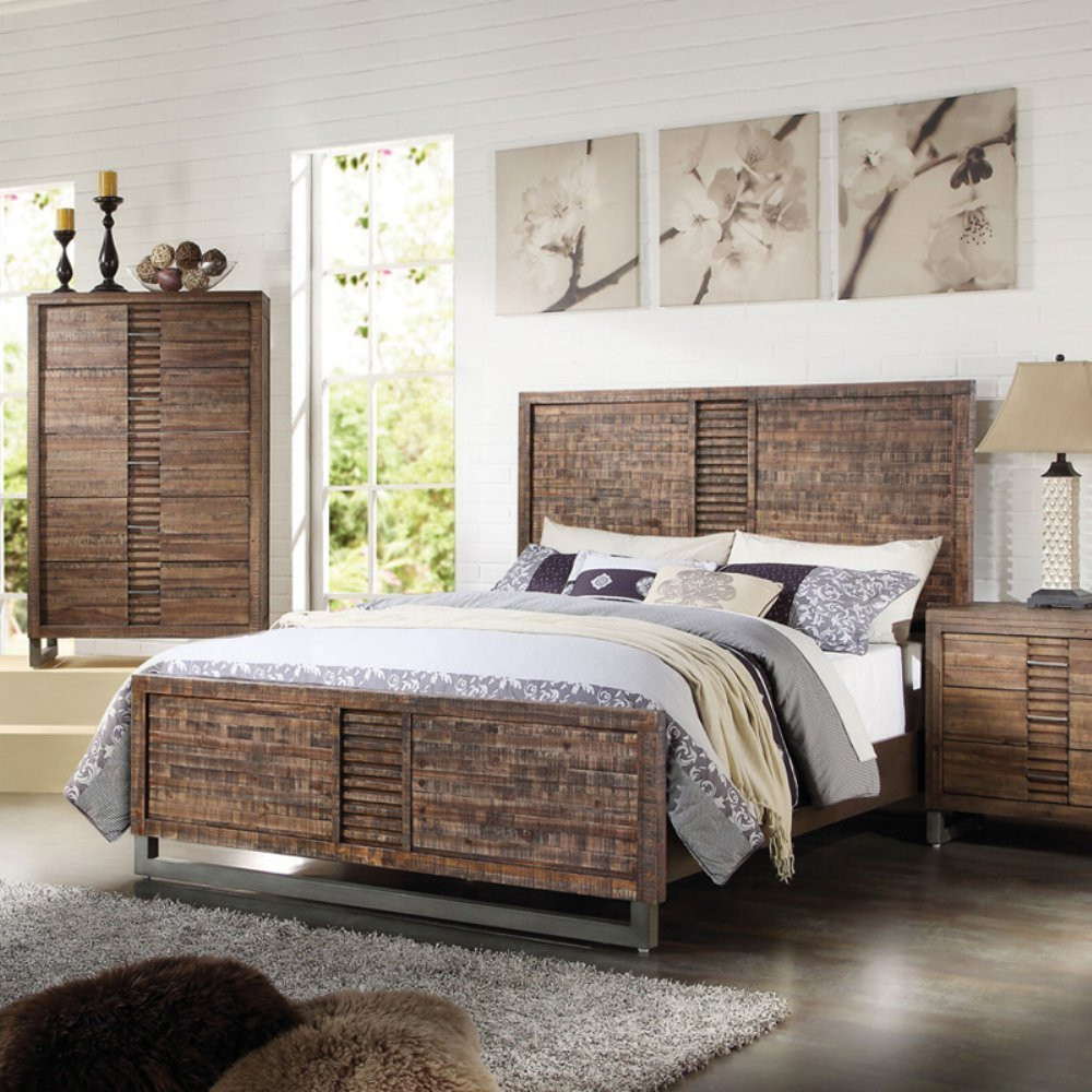Andria Eastern King Bed, Reclaimed Oak (1Set/3Ctn). Picture 1