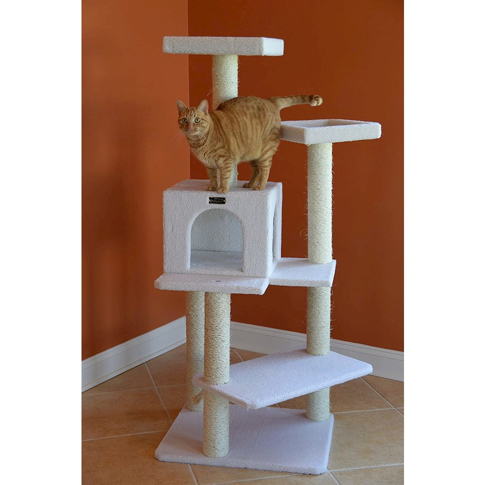 Armarkat Model B5701 57-Inch Classic Cat Tree in Ivory, Jackson Galaxy Approved, Four Levels with Two Perches and Two-Door Condo. Picture 5