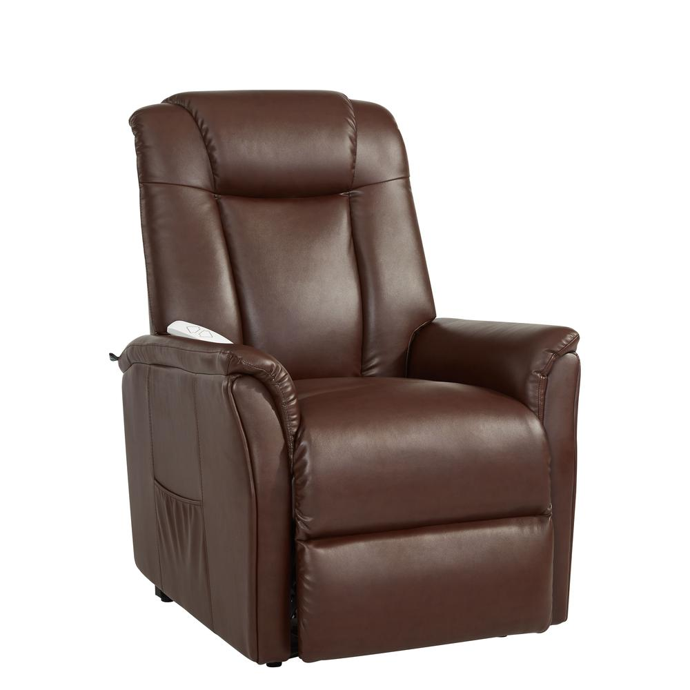 Pistachio Green Leather Sofa: Comfort Lift Waylon Recliner, Cognac