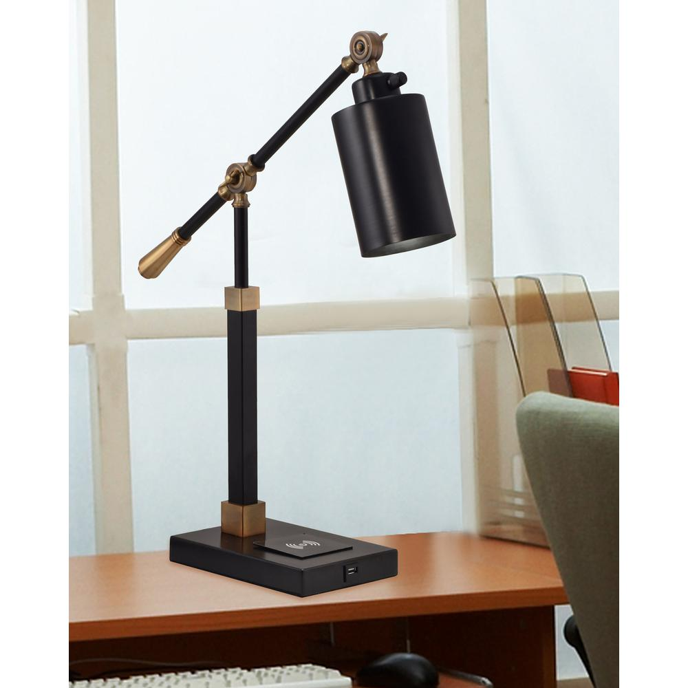 """Springdale 23""""H Cylinder Multi-Direction Desk Lamp With Wireless/USB Charger"""