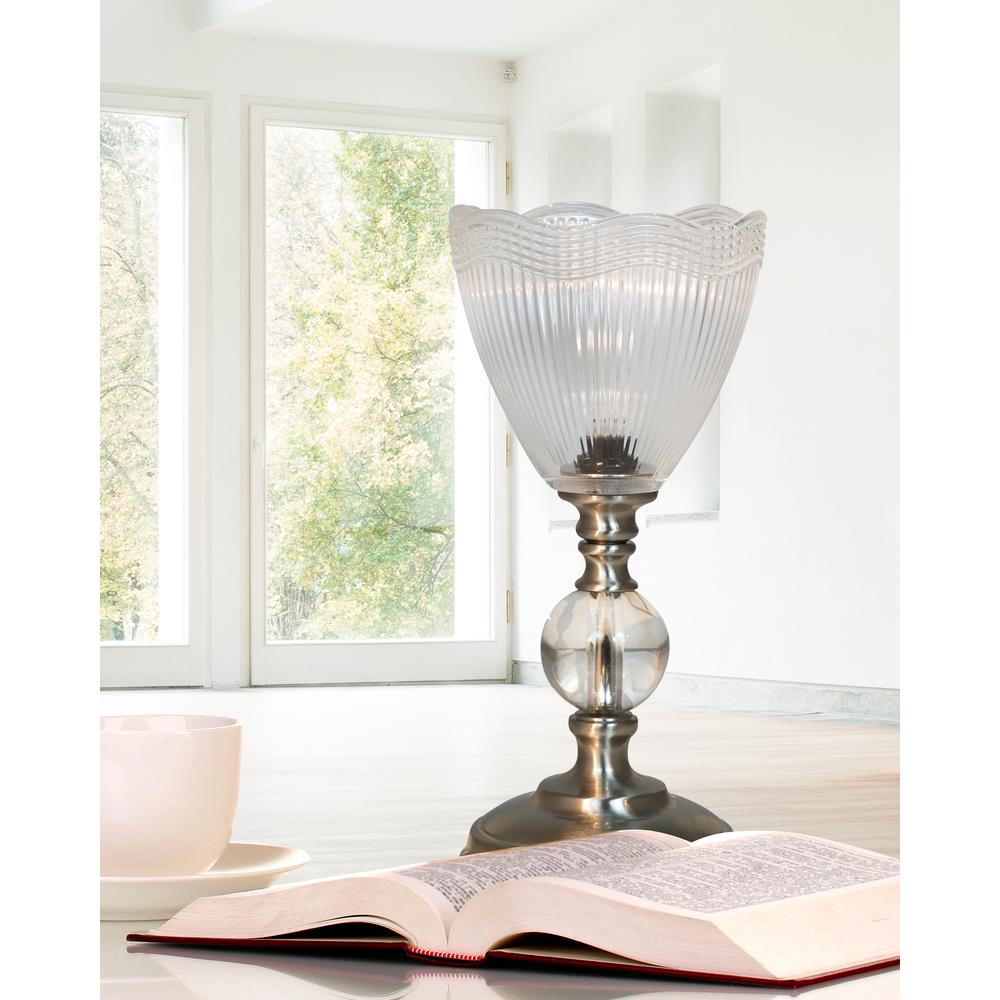 """Springdale 12""""H Crown Silver Crystal Accent Lamp"""
