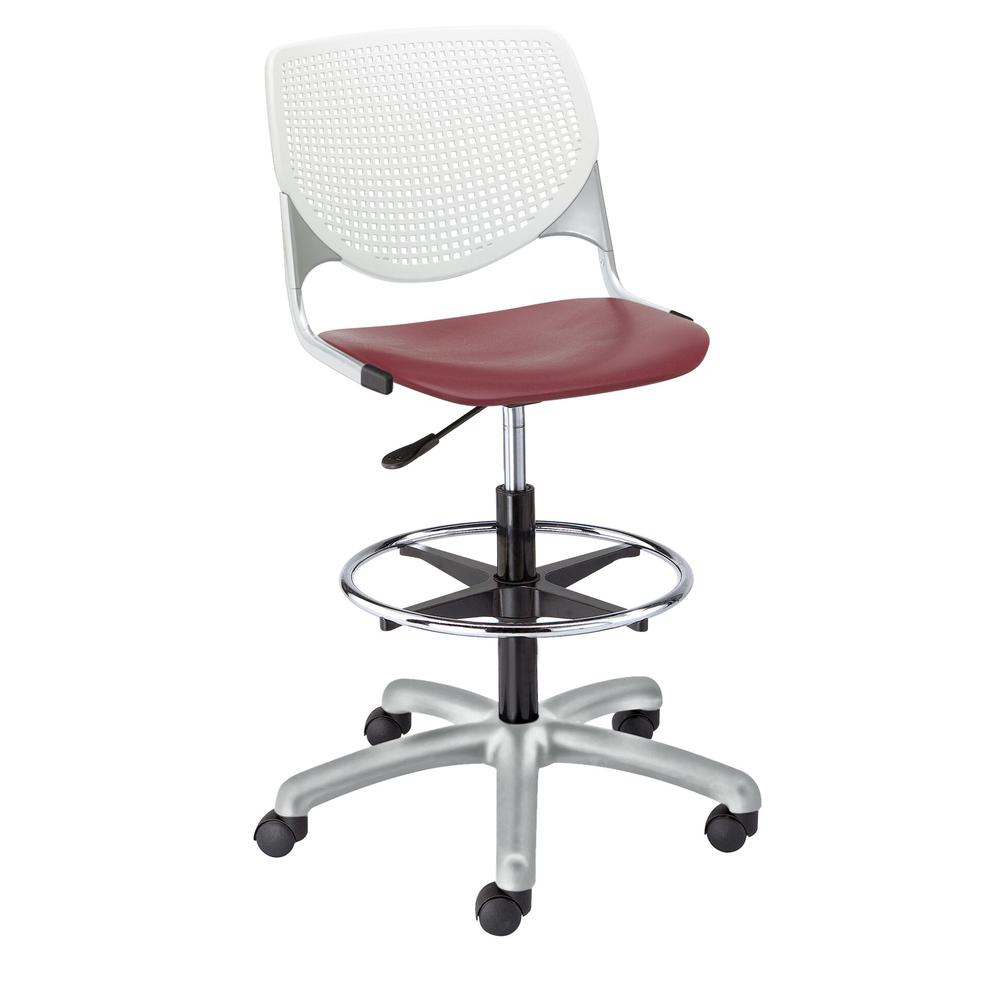 KOOL Poly Adjustable Drafting Stool, White Back, Burgundy Seat. Picture 1