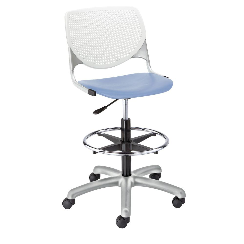 KOOL Poly Adjustable Drafting Stool with Perforated Back, White Back, Peri Blue Seat. Picture 1