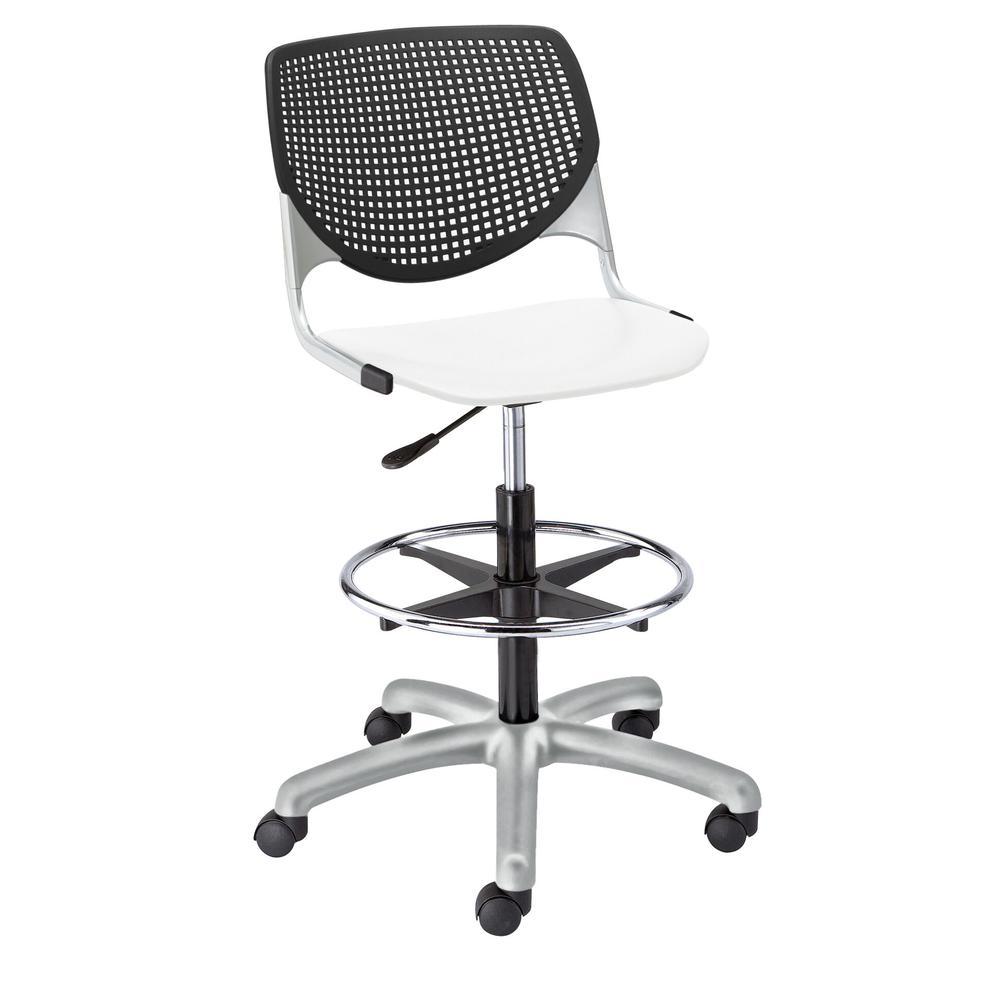 KOOL Poly Adjustable Drafting Stool, Black Back, White Seat. Picture 1