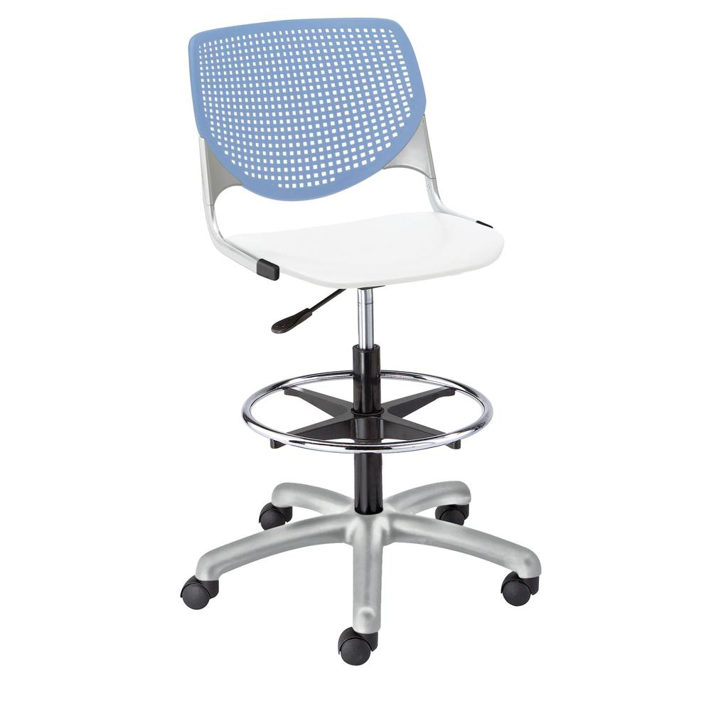 KOOL Poly Adjustable Drafting Stool with Perforated Back, Peri Blue Back, White Seat. Picture 1