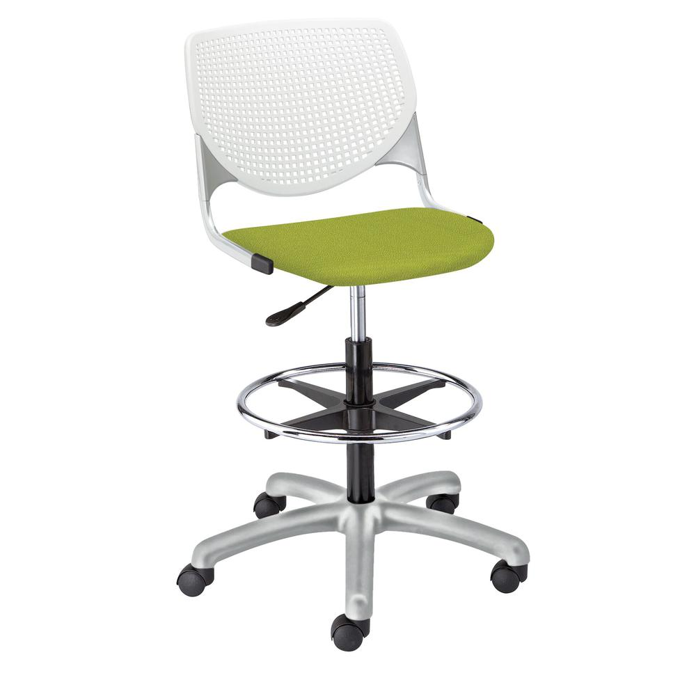 KOOL Poly Adjustable Drafting Stool, White. Picture 2