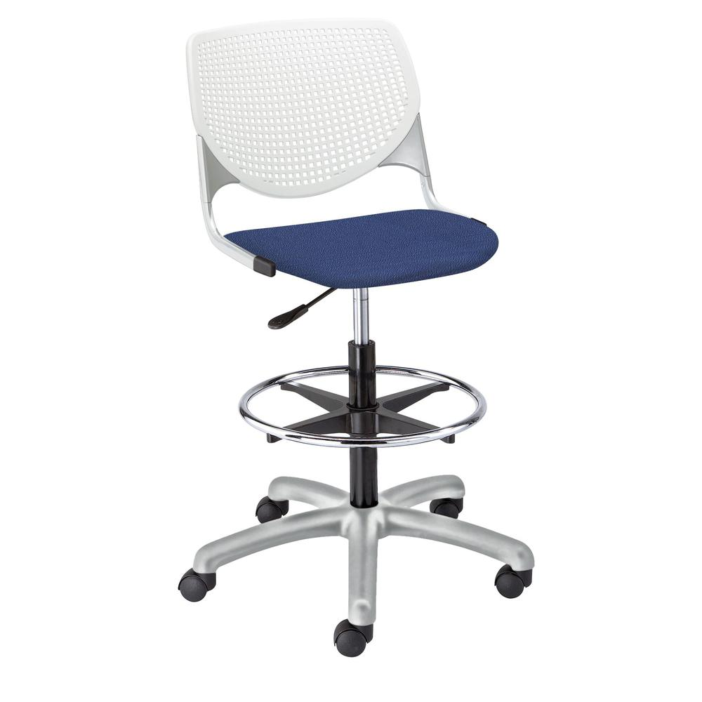 KOOL Poly Adjustable Drafting Stool, White. Picture 3