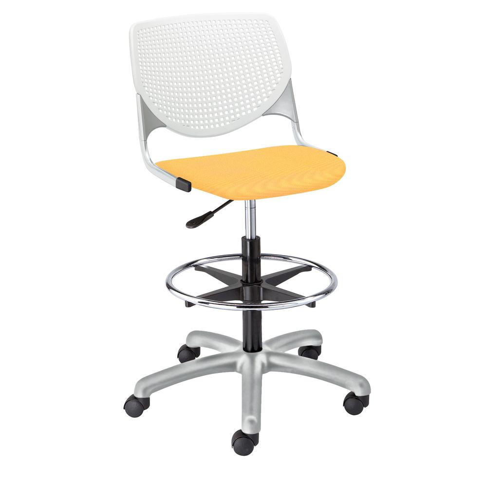KOOL Poly Adjustable Drafting Stool, White. Picture 4