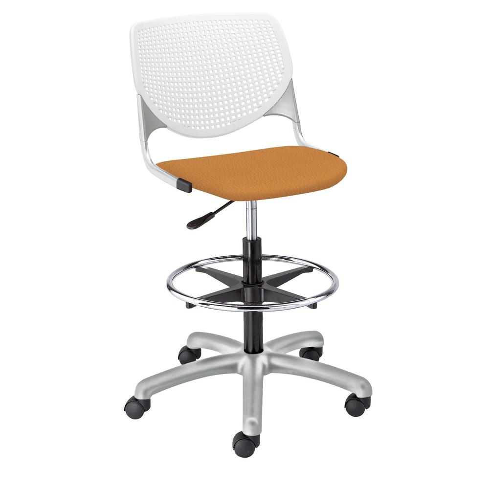 KOOL Poly Adjustable Drafting Stool, White. Picture 5