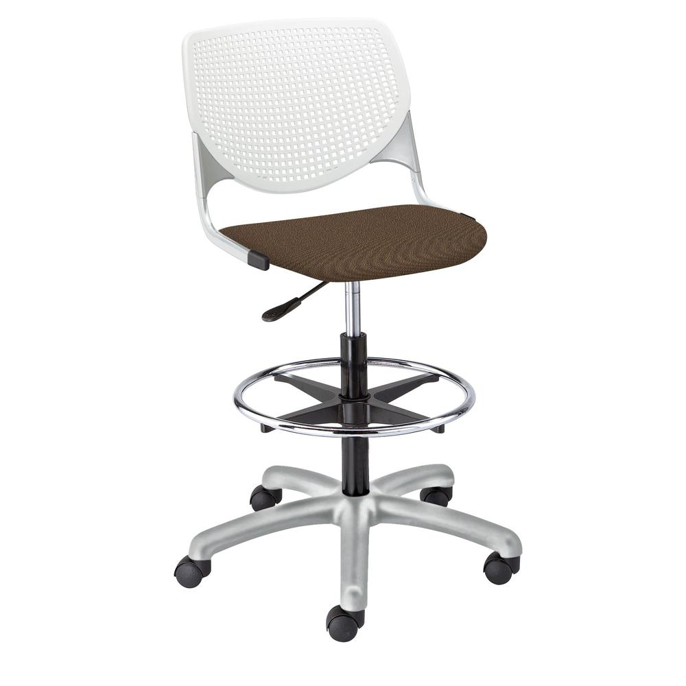 KOOL Poly Adjustable Drafting Stool, White. Picture 6
