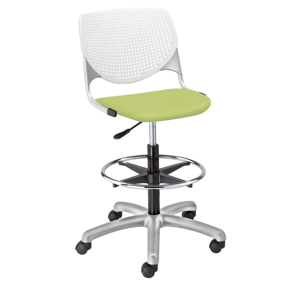KOOL Poly Adjustable Drafting Stool, White. Picture 8