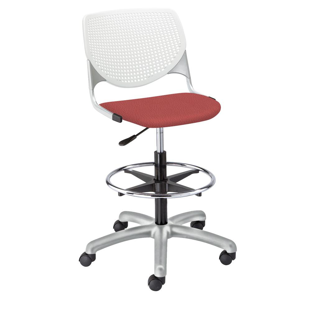 KOOL Poly Adjustable Drafting Stool, White. Picture 10
