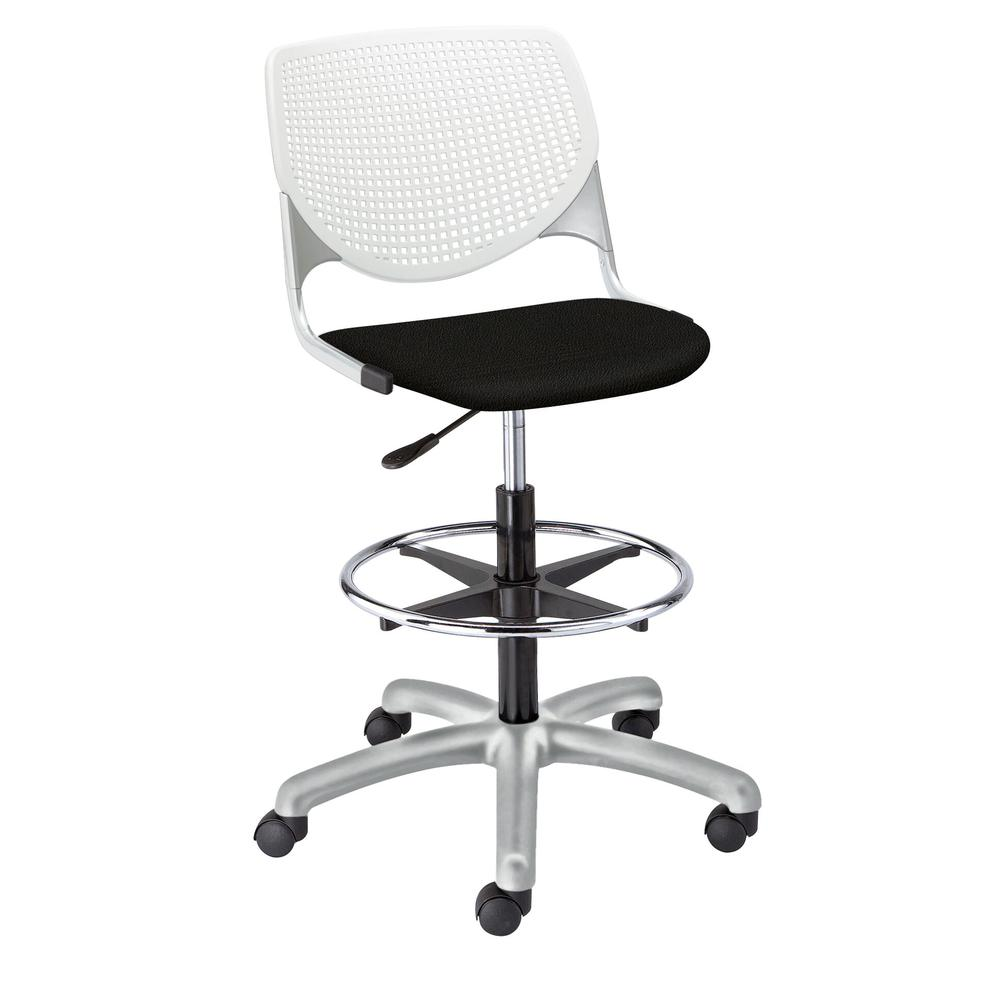 KOOL Poly Adjustable Drafting Stool, White. Picture 12