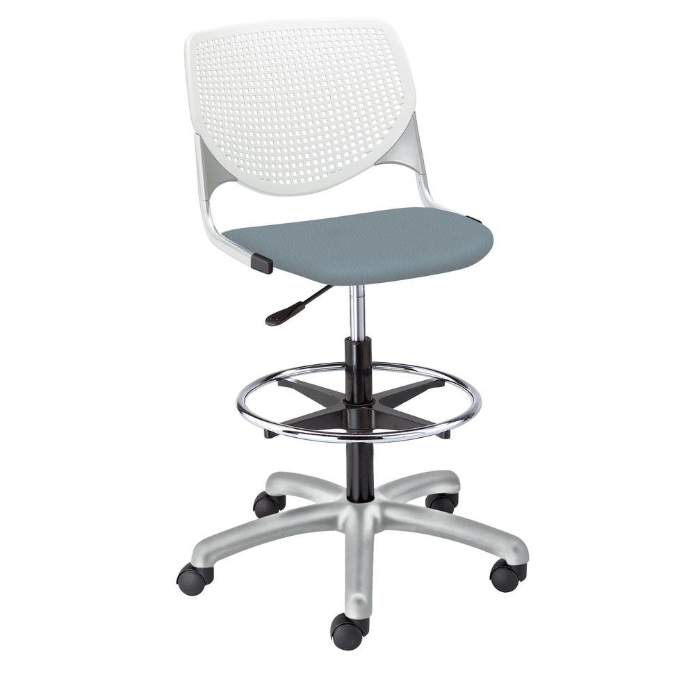 KOOL Poly Adjustable Drafting Stool, White. Picture 13
