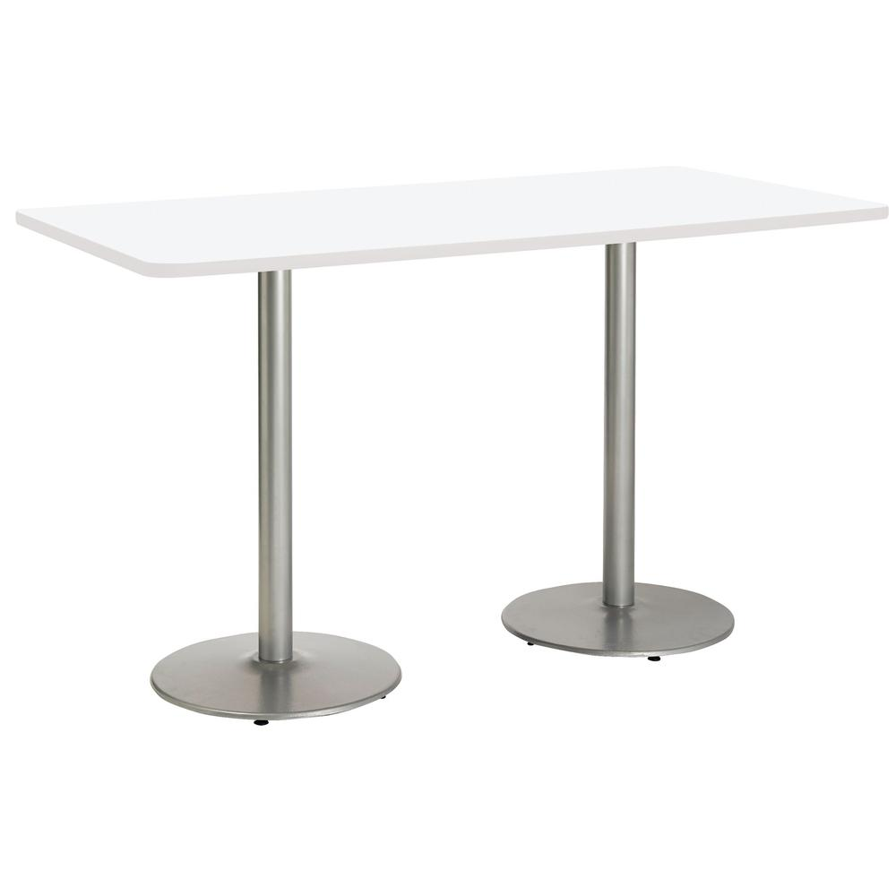 """Mode 36"""" x 72"""" Pedestal Table with Designer White Top, white edge, Round Silver Base, 36"""" Counter Height. Picture 1"""