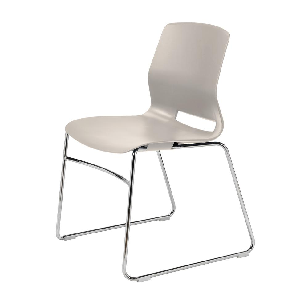 Olio Designs Lola Sled Base Office Stack Chair, Moonbeam
