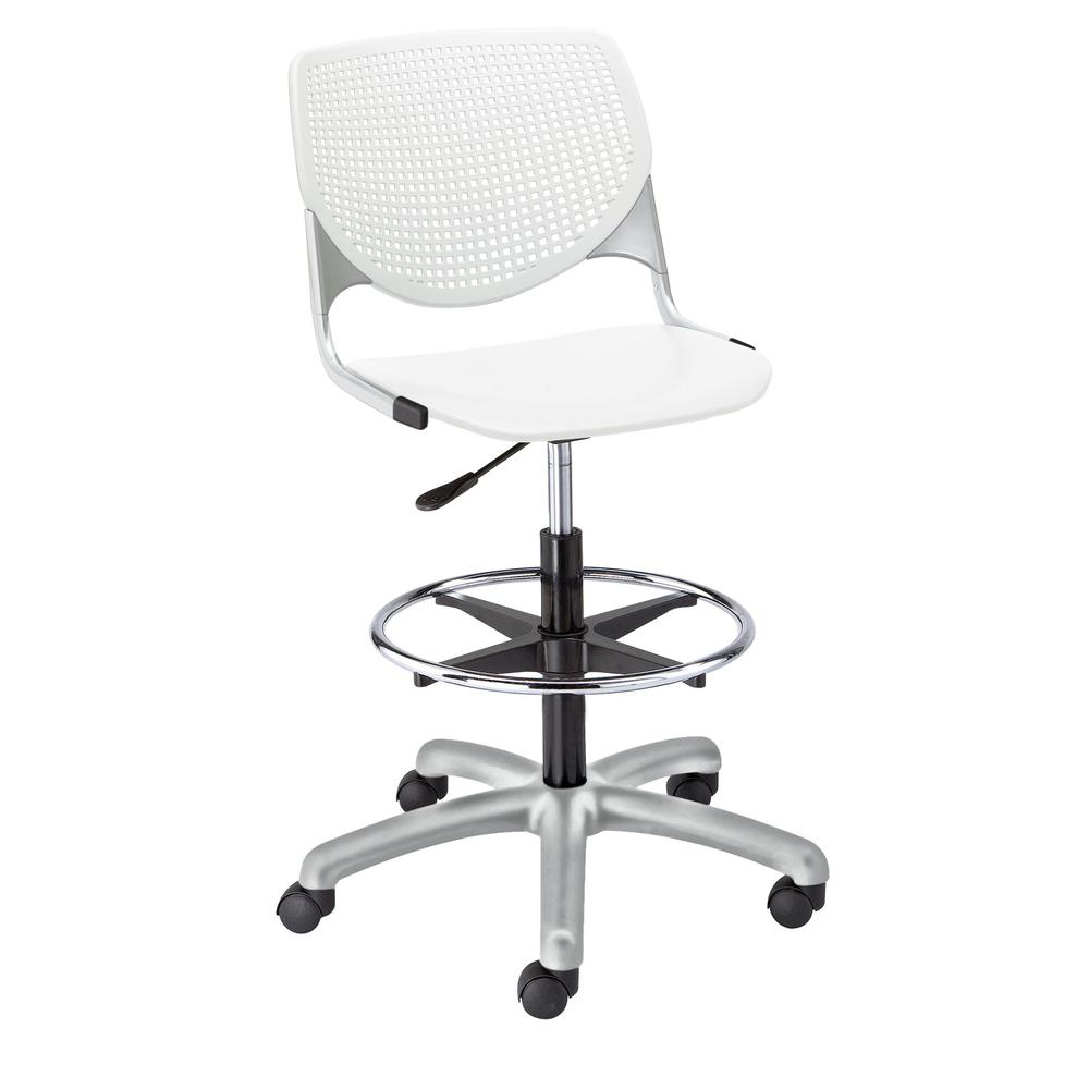 KOOL Poly Adjustable Drafting Stool, White. Picture 1