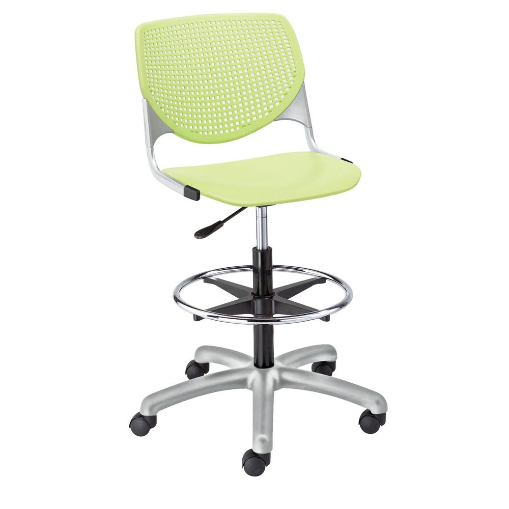 KOOL Poly Adjustable Drafting Stool, Lime Green. Picture 1