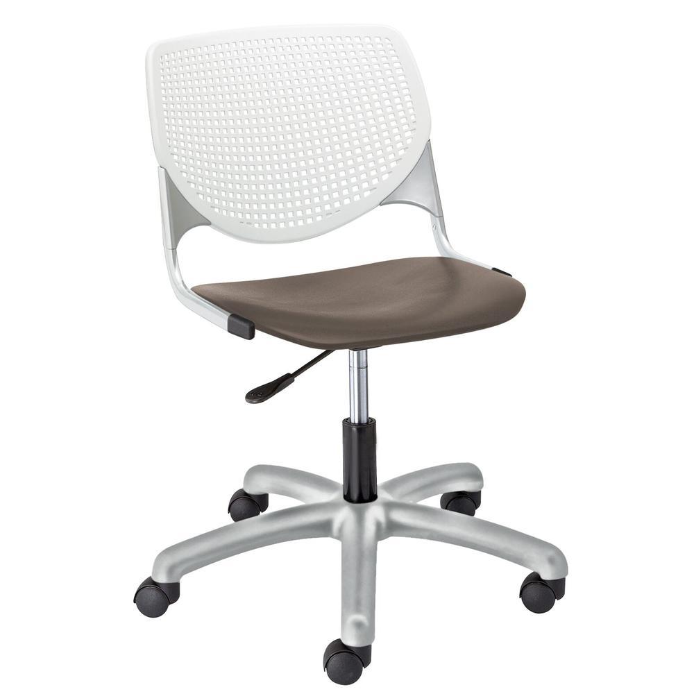 KOOL Poly Task Chair, White Back, Brownstone Seat