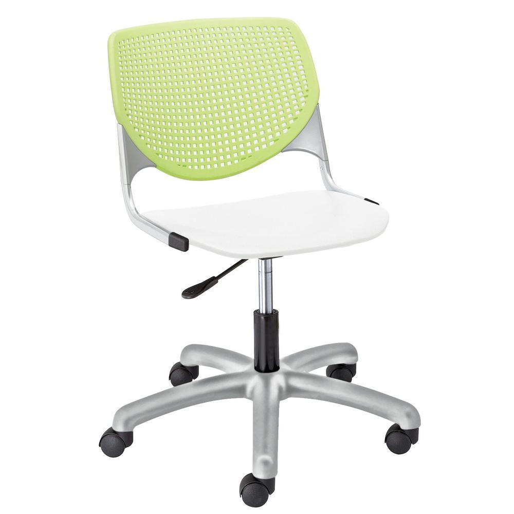 KOOL Poly Task Chair, Lime Green Back, White Seat