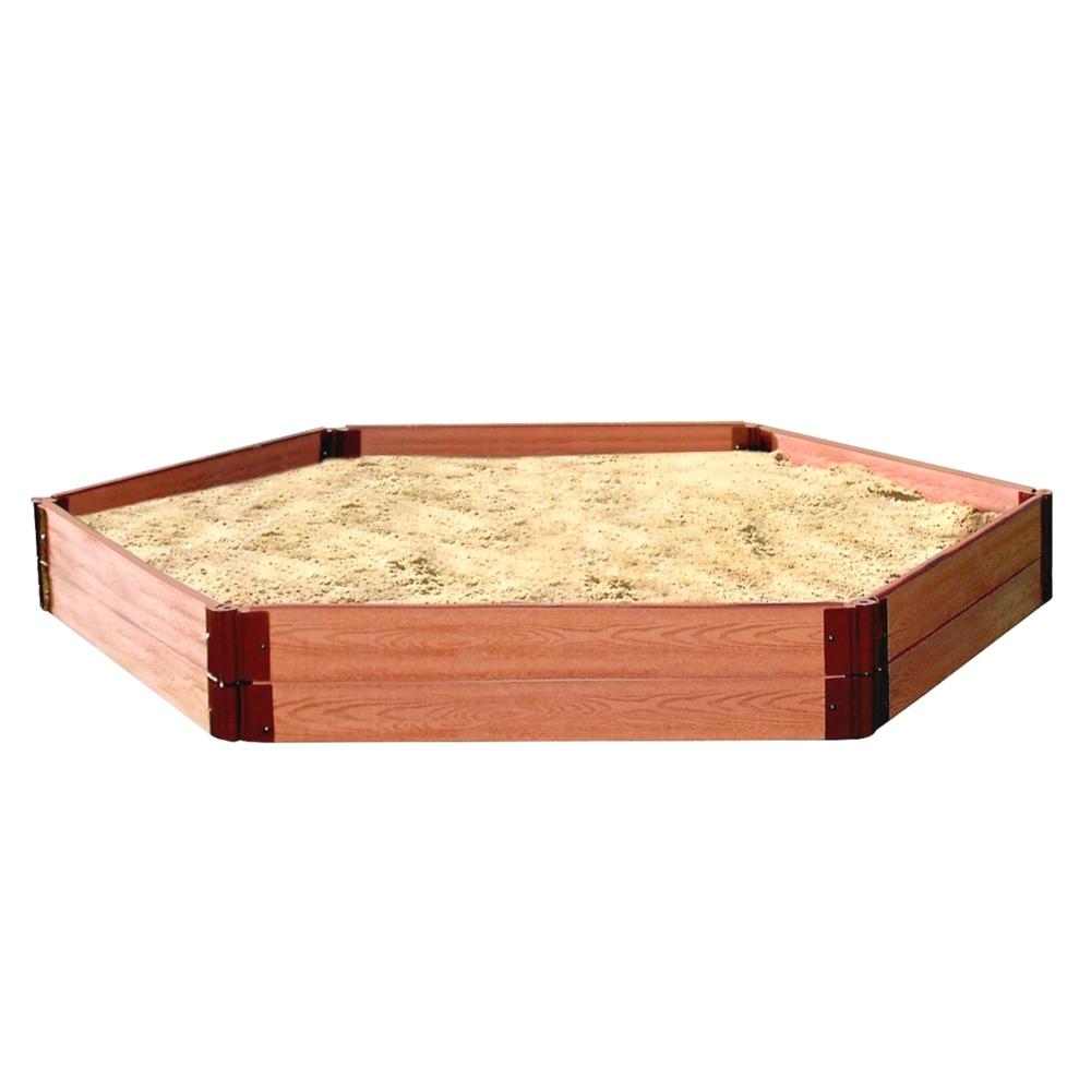 "Tool-Free Classic Sienna 7ft. x 8ft. x 11in. Composite Hexagon Sandbox Kit - 1"" profile"