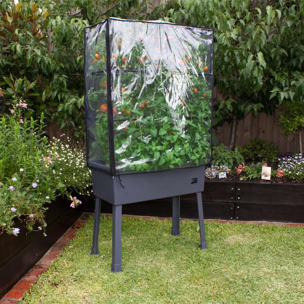 "Patio Ideas -  15.75"" x 31.5"" x 63""  Self-Watering Elevated Planter with Trellis Frame and Greenhouse Cover. Picture 3"