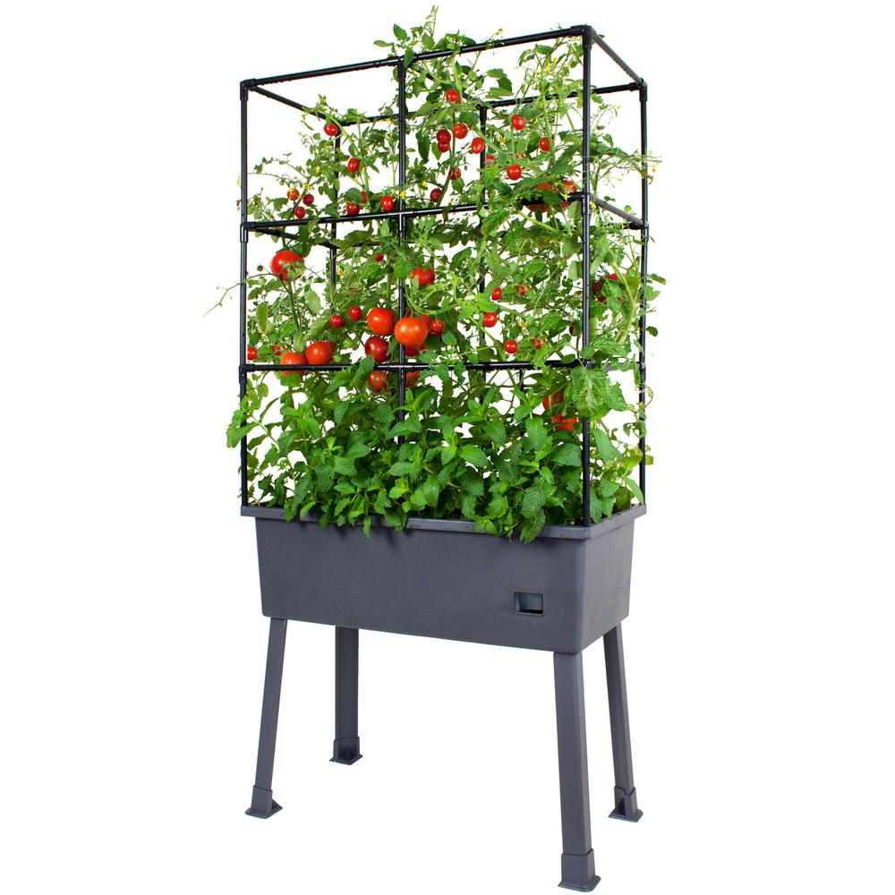 "Patio Ideas -  15.75"" x 31.5"" x 63""  Self-Watering Elevated Planter with Trellis Frame and Greenhouse Cover. Picture 5"