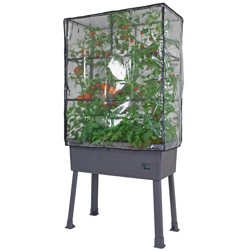 "Patio Ideas -  15.75"" x 31.5"" x 63""  Self-Watering Elevated Planter with Trellis Frame and Greenhouse Cover. Picture 6"