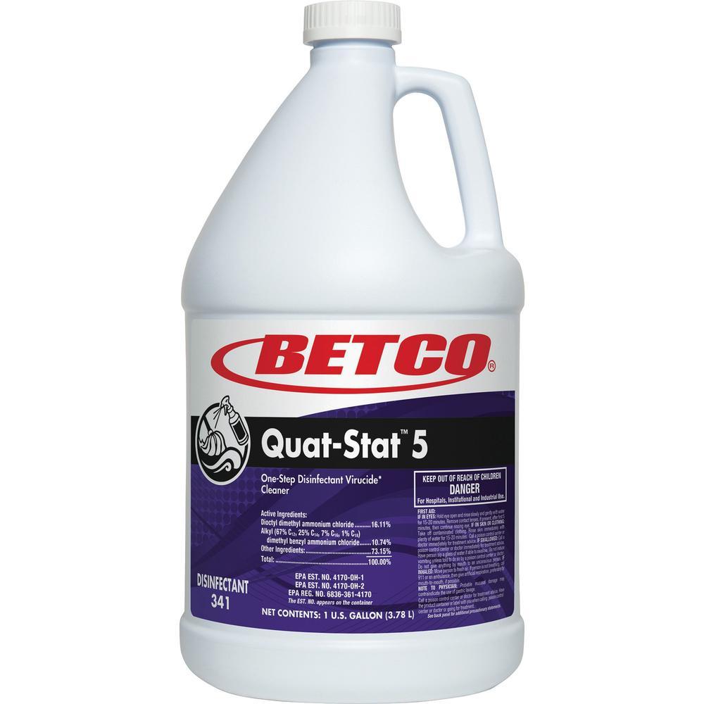 Betco Quat-Stat 5 Disinfectant Gallon - Concentrate Liquid - 128 fl oz (4 quart) - Lavender Scent - 4 / Carton - Purple. Picture 1