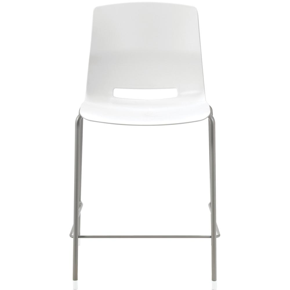 "KFI Swey Collection 25"" Multipurpose Stool - White Polypropylene Seat - White Polypropylene Back - Silver Steel Frame - Four-legged Base - 18"" Seat Width x 17"" Seat Depth - 20.5"" Width x 20.5"" Depth x. The main picture."
