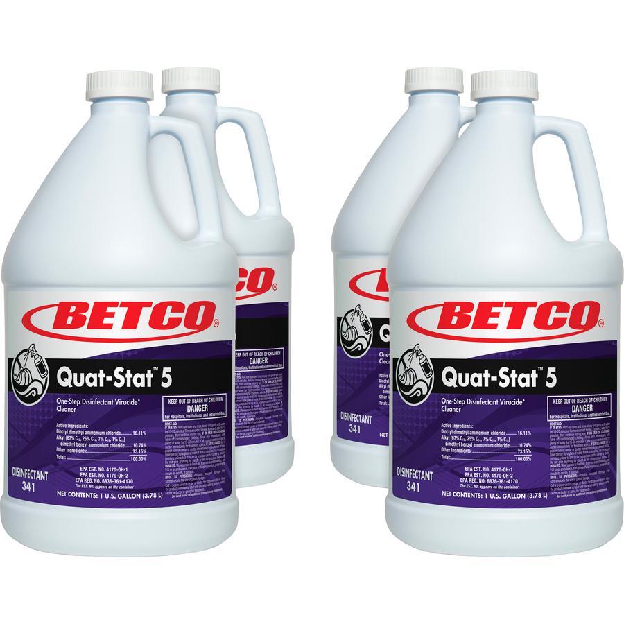 Betco Quat-Stat 5 Disinfectant Gallon - Concentrate Liquid - 128 fl oz (4 quart) - Lavender Scent - 4 / Carton - Purple. Picture 2