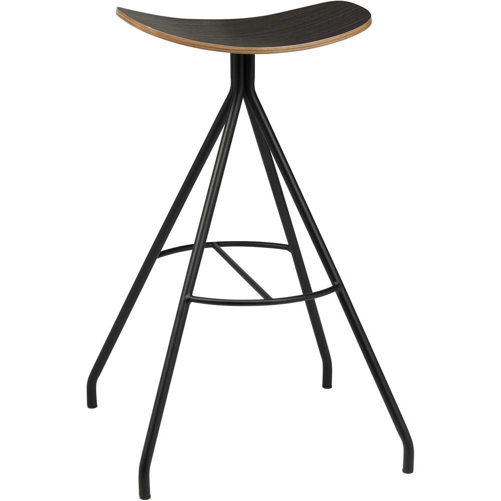 "KFI Bodi Saddle Stool - Espresso Bentwood, Beech Plywood Seat - Black Steel Frame - 17"" Seat Width x 13"" Seat Depth - 19.5"" Width x 19.5"" Depth x 30"" Height - 1 Carton. Picture 2"