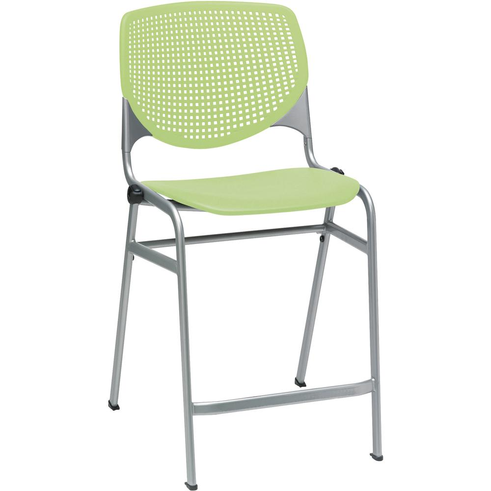 "KFI Kool Counter-Height Stackable Stool - Lime Green Polypropylene Seat - Lime Green Polypropylene, Aluminum Alloy Back - Powder Coated Silver Cold Rolled Steel Frame - Four-legged Base - 18"" Seat Wid. Picture 2"