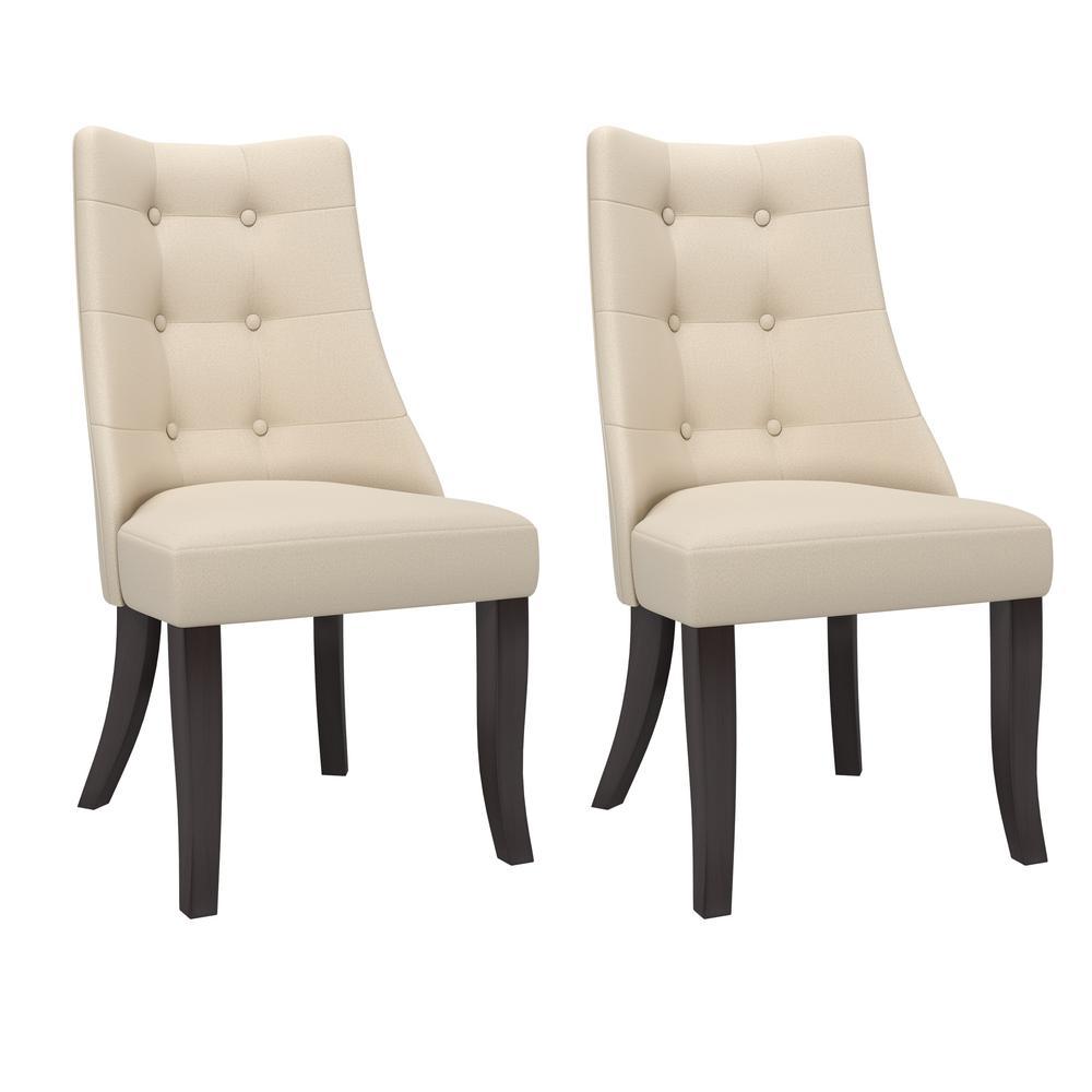 Burgundy Carpet Bedroom Small Bedroom Cupboards Designs Bedroom Chandeliers Next Cream Bedroom Chairs: Antonio Button Tufted Cream Dining Accent Chairs, Set Of 2