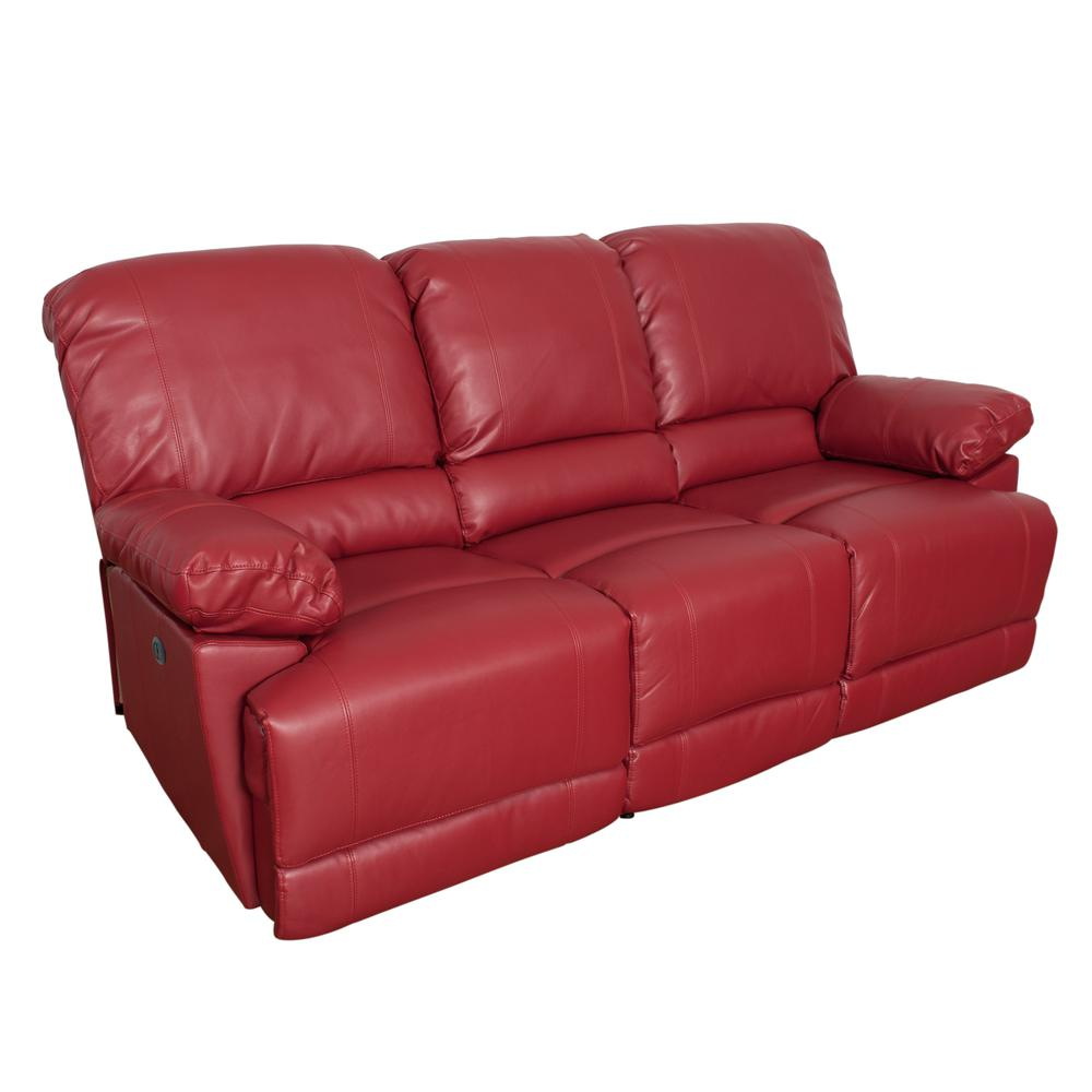 Red Bonded Leather Power Reclining Sofa With Usb Port